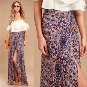 Lulu's Dancing with Daisies Faux Wrap Maxi Skirt